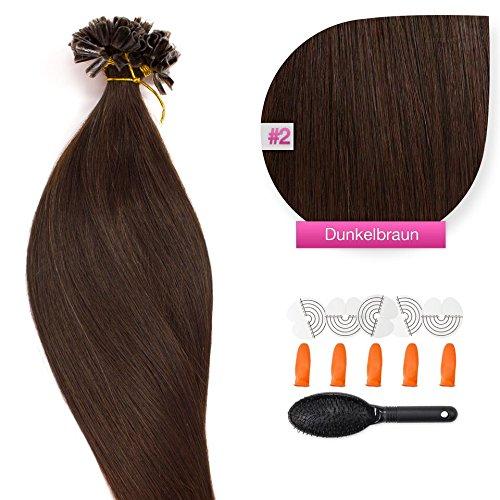 150 x 1,0g glatte indische Remy 100% Echthaar-Strähnen/ U-tip / Extensions / Haarverlängerung mit Keratinbondings 50 cm #02 Dunkelbraun - dark brown