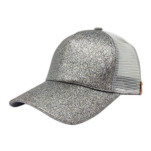UFACE Pailletten offene Kappe Frauen Pferdeschwanz Baseball Cap Pailletten glänzend chaotisch Brötchen Snapback Hut Sun Caps (E)