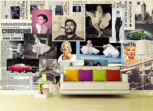 Xcmb Europäische Retro Zeitung Hintergrund Marilyn Monroe Foto Großes Wandbild Tapete Wohnzimmer Schlafzimmer Tv Hintergrund 3D Wallpaper-350Cmx245Cm