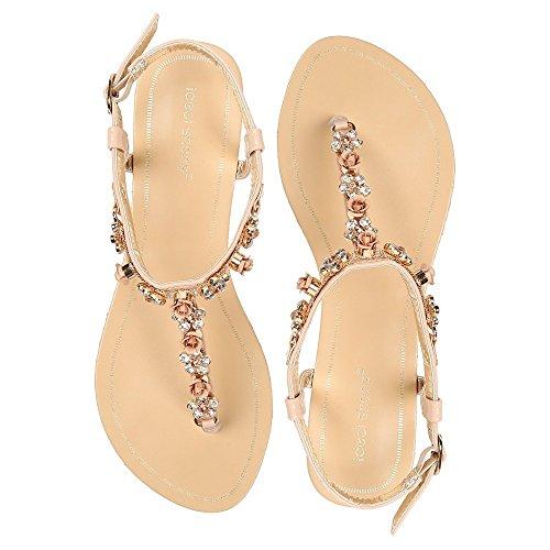 Ideal-Shoes Sandali piatti impreziositi da fiori strassées Greta Beige (Beige)