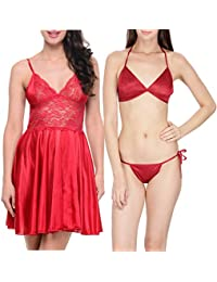 Klamotten Satin Women Sexy Nightwear and Bikini Set Combo 11M-32