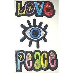 Toppa Toppe Patch applicazioni termoadesiva termoadesive Stoffa per Jeans Vestiti Bambini 3 pezzi Love + Peace + occhio blu 8 a 10 cm a pezzo