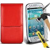 Fone-Case ( Red ) Samsung galaxy S3 Mini étui Cover Case Brand New Luxury Cuir Side Faux PU Vertical Pull Tab Pouch Housse de la peau avec Protecteurs d'écran en verre trempé Crystal Clear LCD