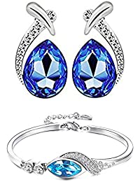 Parisha Jewells Combo Of Valentine's Gift Collection Attractive Blue Bracelet And Earrings With Crystal Stones...