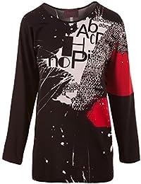 ccd1e3963ed4 Sempre Piu Langarmshirt Damen Shirt lange Ärmel Schwarz Rot All-Over Print  Viskose