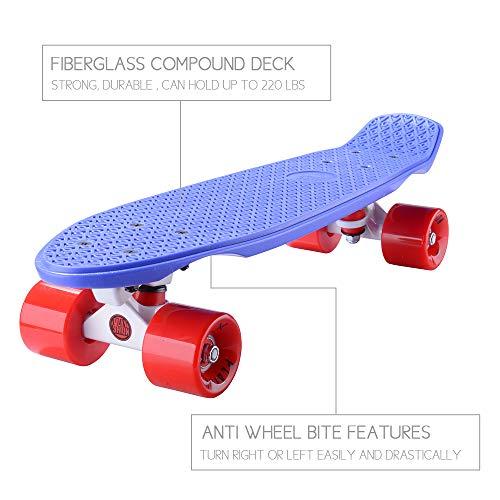 PLAYSHION Mini Cruiser T-Tool 22 Zoll Retro Skateboard für Kinder und Erwachsene mit High Speed ABEC 9 Kugellagern