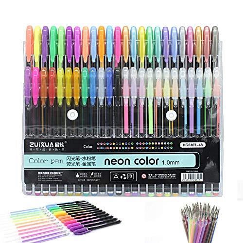 Bolígrafos de tinta de gel (48 unidades: 12 metálicos + 12 purpurina + 12 neón + 12 pastel) y 48 recambios de bolígrafo de gel para libros de colorear para adultos, dibujos, y escribir