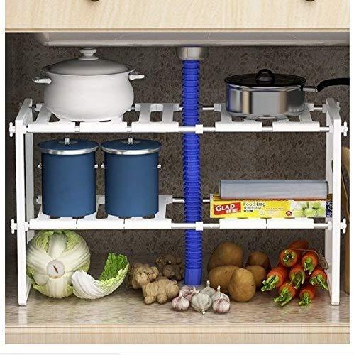 Cestello per lavandino a mensole, per la parte inferiore del lavandino, regolabile, estensibile, multiuso, per cucina o bagno, colore: bianco