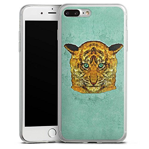 Apple iPhone 8 Plus Slim Case Silikon Hülle Schutzhülle Mint Tiger Raubkatze dschungel Silikon Slim Case transparent