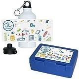 Eurofoto Brotdose + Trinkflasche Set mit Namen Ole und schönem Motiv zur Einschulung für Jungen | Aluminium-Trinkflasche | Lunchbox | Vesper-Box