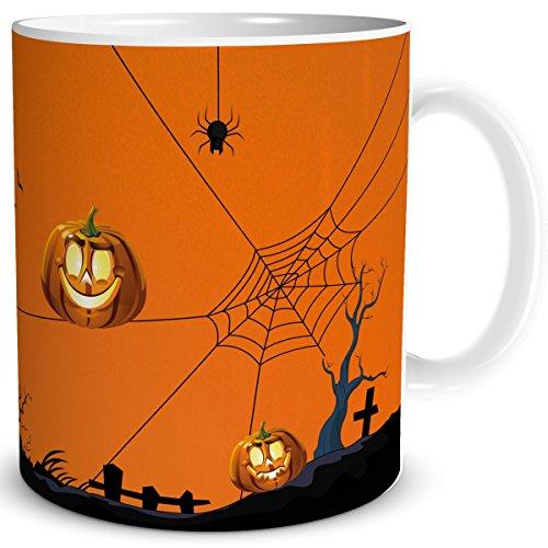 TRIOSK Tasse Halloween Kürbis, Party Geschenk für Freunde Feste Feiern, Weiß Orange Bunt, 300 ml