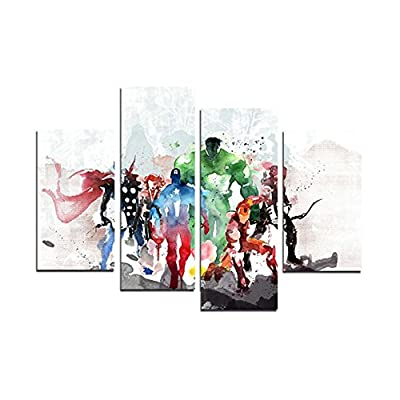 XrsArt 4 Piece The Avengers Modern Art Canvas Wall Paintings Cuadros Decorativos Canvas Prints Paintings Art For Living Room Wall (Unframed) Unframed FCa20 48 inch x28 inch