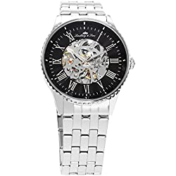 Lindberg&Sons - CHP158 - wrist watch for men - skeleton - automatic movement - analog display - stainless steel bracelet