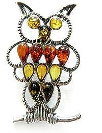 a2c57b3035 Ciondolo Ambra e Argento Sterling - Gufo, per Uomo o Donna, Gioielli Pietra  Naturale