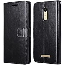 Xiaomi Redmi Note 3 Pro Special Edition Hülle, Heyqie Premium Leather Folio [Kickstand Feature] with Card Holder Flip Wallet Cover Case for Xiaomi Redmi Note 3 Pro Prime Global version 152mm - Black