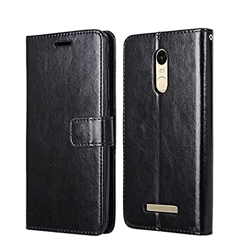 Xiaomi Redmi Note 3 Pro Special Edition Case, Heyqie Premium Leather Folio [Kickstand Feature] with Card Holder Flip Wallet Cover Case for Xiaomi Redmi Note 3 Pro Prime Global version 152mm - Black