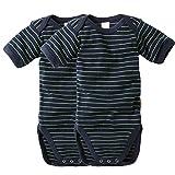 wellyou, 2er Set Kinder Baby-Body Kurzarm-Body, marine-blau neon-gelb gestreift, geringelt, für Jungen und Mädchen, Feinripp 100% Baumwolle, Größe 128-134