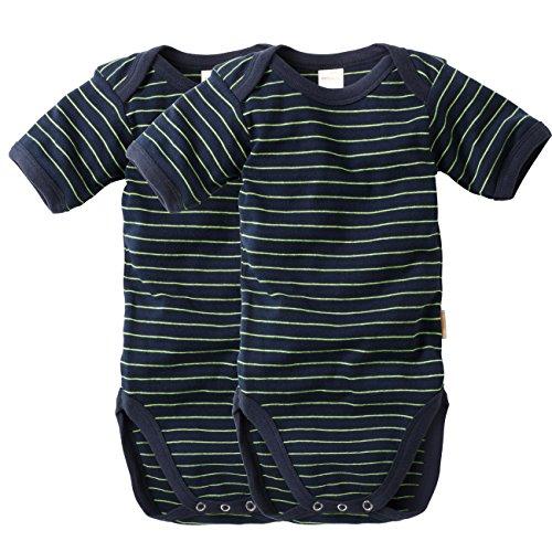 wellyou, 2er Set Kinder Baby-Body Kurzarm-Body, marine-blau neon-gelb gestreift, geringelt, für Jungen und Mädchen, Feinripp 100{4f6d97e35dbce1c278294570eb9e835d4b4ed0bf5258177e75af81bdbad53ac5} Baumwolle, Größe 128-134