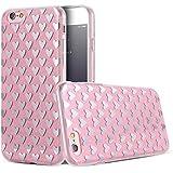 Phone Kandy® La caja del gel de silicona transparente de los lados de TPU de Bling del brillo carcasa funda (iPhone 6 6s Plus (5.5 pulgadas), Corazones rosas)