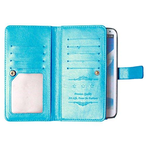 FUBAODA Galaxy Note 3 III Hülle, [Kostenlos Syncwire Ladekabel][Photo View][Handtasche] PU Flip Leder Schmale Ständer Brieftasche mit ID / Bargeld / Karten Aussparrung und Ständerfunktion für Samsung Galaxy Note 3 III (N9000 N9005) (blau) - 3 Für Holster Note Samsung