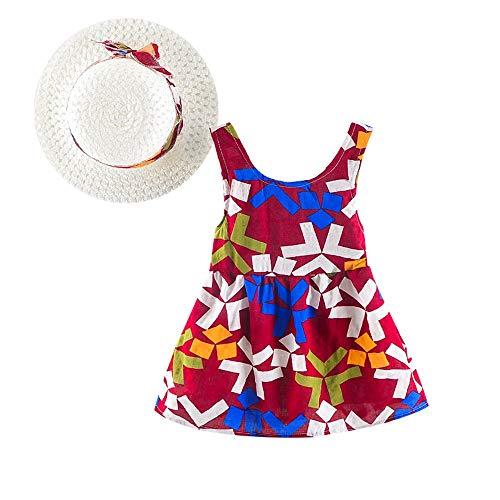 feiXIANG Kleidung Set Kinder Baby Dress + Hut Lässige Print Strandkleider Neugeborenes Sommer Kostüm ()