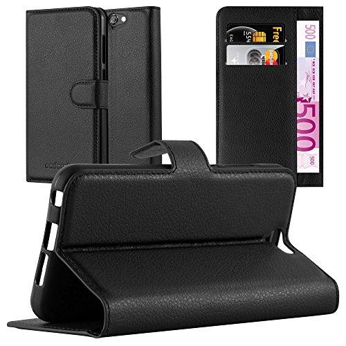Cadorabo Hülle für HTC ONE A9 - Hülle in Phantom SCHWARZ – Handyhülle mit Kartenfach und Standfunktion - Case Cover Schutzhülle Etui Tasche Book Klapp Style