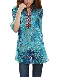 Blusas De Mujer Elegantes Verano Camisa De Gasa Vintage Estilo Etnico Impresa 3/4 Manga Ropa Modernas Moda Fiesta Casual Tops…