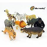 Figuras de juguete de plástico de animales de safari de 9
