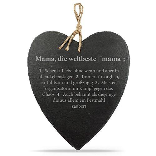 Casa Vivente Schieferherz mit Gravur – Definition Oma oder Mama – Standard – Personalisiert – PARENT