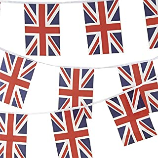 JnDee Proud to be British, 100% Fabric Union Jack Bunting Flag 10metres/33ft Long with 30 Flags