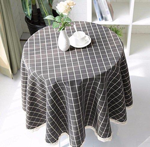 WFLJL Nappe Imperméable Table Basse Table à manger capot Dentelle Tissu Treillis Gris Diamètre110cm