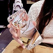 Funda Samsung Galaxy S6 Edge Plus caso,Galaxy S6 Edge Plus Bling TPU Silicona Cromado Espejo Caso,EMAXELERS Funda para Samsung Galaxy S6 Edge Plus Suave Flexible Lujo Caso Shockproof Slim Funda Lindo Bling Glitter Espejo Volver caso patrón Sparkle Frame Parachoques Silicona Transparente TPU protección Cubrir Back Cover para Samsung Galaxy S6 Edge Plus with 1 x Stylus Pen,Silver Mirror TPU with Bear Ring Stand Holder