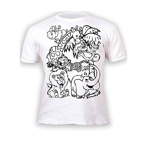 Kinder T-Shirt Jungen Mädchen Zoo Zootiere. Zum Bemalen und Ausmalen mit Vordruck. Mitgeliefert 6 auswaschbare Magic - Malstifte. Kindergeburtstag 7-8 Jahre