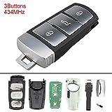 PathChina® 434 MHz 3 Tasten Keyless Uncut Flip Smart Remote Schlüsselanhänger mit ID48 Chip 3C0959752BA für VW Passat B6 3C B7 Magotan CC 2006-2011