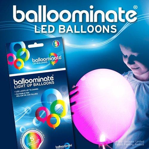 BALLOOMINATE - Globos luminosos Rosa (con luz LED rosa), en paquete de 5 piezas. Excelentes para bodas, reuniones, fiestas y todo tipo de celebraciones