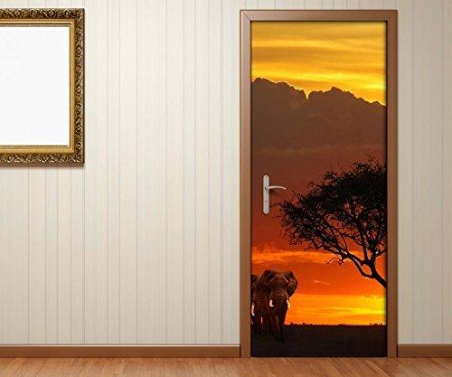 Pegatina de Puerta África Sabana Elefantes Safari Puerta Imagen Poster de Puerta...