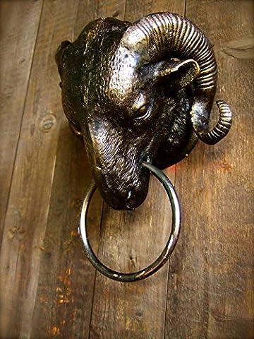 Antikas - Widder Bronze-Optik als stilechte Landhaus-Deko-Widderkopf mit Anbinde-Ring