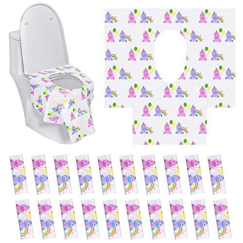 Tankerstreet 20 pezzi viaggio coprisedile wc tessuto non tessuto stile unicorno coprisedile monouso antibatterico anti-skid portatile disposable toilet seat covers a bambini adulti (63x66cm)