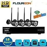 FLOUREON Kit de Système 4CH 720P HD DVR NVR Sans Fil Sécurité de Surveillance avec 4 Caméras Wifi WLAN 720P PAL Haute Résolution Extérieur Intérieur IR Cut Détection de Mouvement Envoi d'Email Alarme