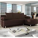 Muebles Bonitos – Sofá chaise longue modelo Alys Marron Derecha
