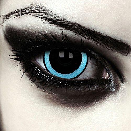 Halloween Underworld Kostüm Selene - Schwarz blaue Mini Sclera Kontaktlinsen 17mm Vampir Halloween Farblinsen + Gratis Kontaktlinsenbehälter (Galactic)