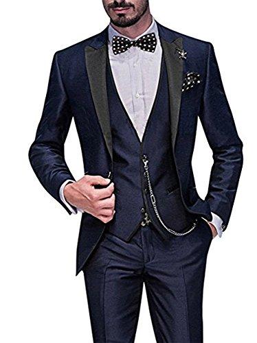 TPSAADE Braut Herren Anzug 5 Stück Anzug Jacke, Weste, Hosen, Krawatte, Taschentuch Blue Hochzeit Prom Party Bräutigam Männer Tuxedos Anzüge (XXXXL) (Männer Tuxedo Prom)