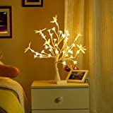 Finether Table Lamp Home Decoration:Cherry Flower Tree Table Lamp Battery/USB Powered Nightlight Mood light with ON&OFF&TIMER Switch for Christmas Present Party Holiday Living Room Home Decor