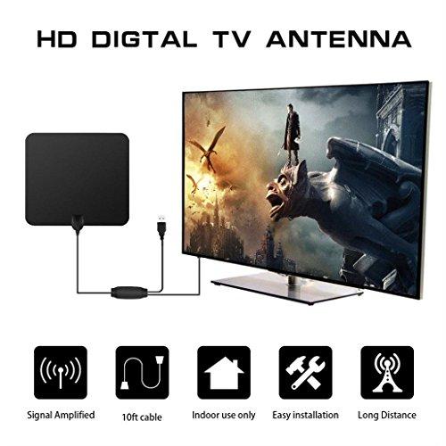 Bescita Verstärkte 50/80 Meilen Range Flat HDTV Digitales Indoor Amplified TV Antenne mit Signal Verstärker (80 Meilen, Schwarz) Omni-hdtv-antenne