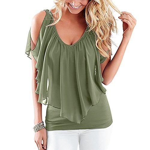 iBaste Femme Chemise été V Collier Chiffon écharpe Manches Couture T-Shirt Vert