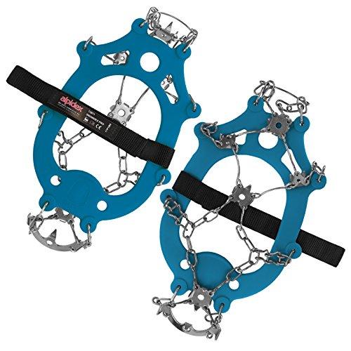 ALPIDEX Schuh Spikes Grödel SNOWDEX PRO Schneeketten für Schuhe in verschiedenen Größen Schuhkrallen mit Edelstahlspikes 21 Zähne, Größe:M, Farbe:Blue