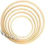 TOKERD 5 Stks Borduurhoepels Set 13, 15, 19, 25, 30cm Ronde Borduurhoepels Bamboe Cirkel Cross Stitch Hoops Grote Borduurringen voor DIY Art Craft Naaien Kransen Decoratie