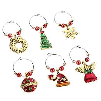 ysister 6 Piezas Navidad Copa de Vino encantos Anillo Marcador vajilla decoración, Dijes de Copa de Vino para Navidad Encanto de Copa de Vino Diferenciador Anillo Marcador