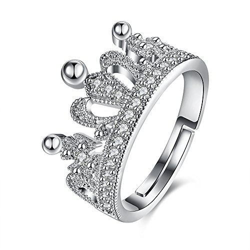 Via Mazzini Platinum Plated Royal Princess Crown Proposal Ring For Women (Ring0297) - FREE SIZE