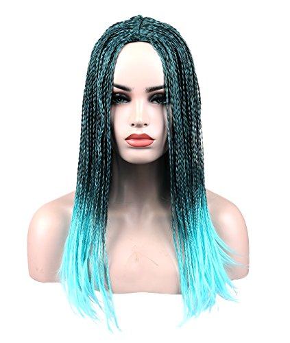 kalyss Premium pelo sintético peluca Pelucas Cosplay Collection Ombre negro a azul Full hecho a mano mechones Halloween disfraz pelucas para mujeres o hombres